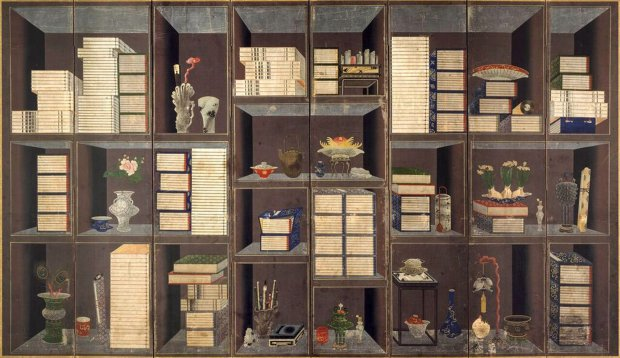 Scholar's books and things. Yi Eungrok (Korean, 1808-after 1874), approx.1860-1874, eight panel folding screen, ink and colors on paper*. *(Courtesy of Asian Art Museum)