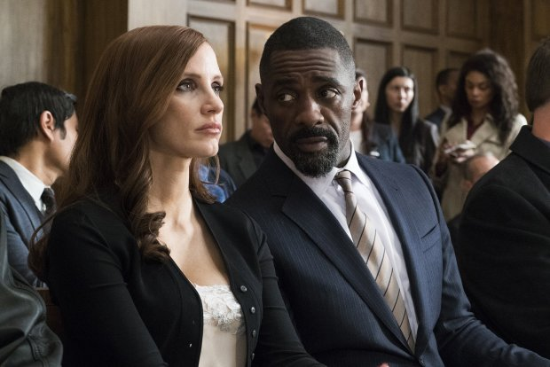 "Jessica Chastain and Idris Elba in ""Molly's Game."" (Michael Gibson/STXEntertainment"