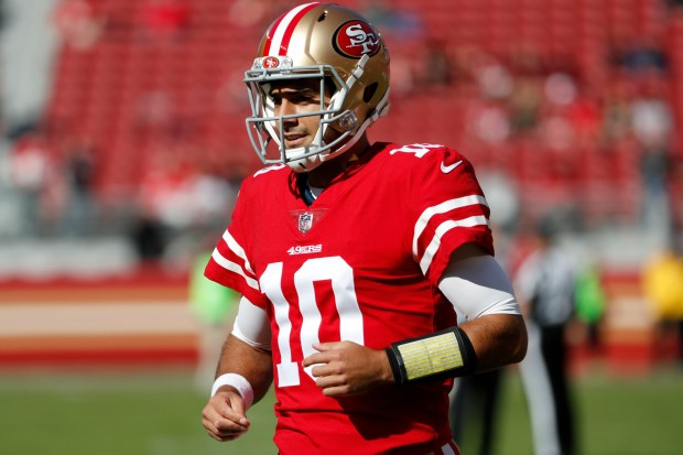 San Francisco 49ers' Jimmy Garoppolo (10) is photographed on the field during warm-ups before game against Arizona Cardinals in their NFL game at Levi's Stadium in Santa Clara, Calif. on Sunday, Nov. 5, 2017. (/Bay Area News Group) (Josie Lepe/Bay Area News Group)