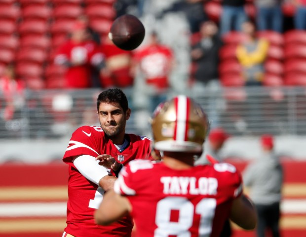 San Francisco 49ers' Jimmy Garoppolo (10) throws the ball during warm-ups before game against Arizona Cardinals in their NFL game at Levi's Stadium in Santa Clara, Calif. on Sunday, Nov. 5, 2017. (Josie Lepe/Bay Area News Group)