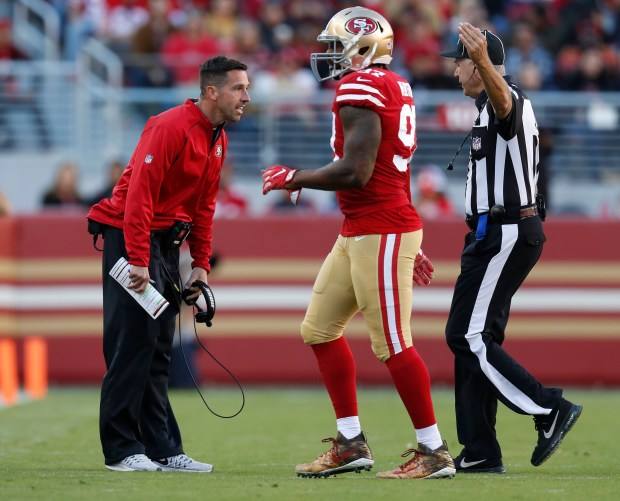 San Francisco 49ers head coach Kyle Shanahan talks to a referee during their game against the Arizona Cardinals in the third quarter of their NFL game at Levi's Stadium in Santa Clara, Calif. on Sunday, Nov. 5, 2017. (Nhat V. Meyer/Bay Area News Group)