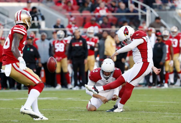 Arizona Cardinals' Phil Dawson (4) makes a field goal against San Francisco 49ers in the fourth quarter of their NFL game at Levi's Stadium in Santa Clara, Calif. on Sunday, Nov. 5, 2017. (Josie Lepe/Bay Area News Group)