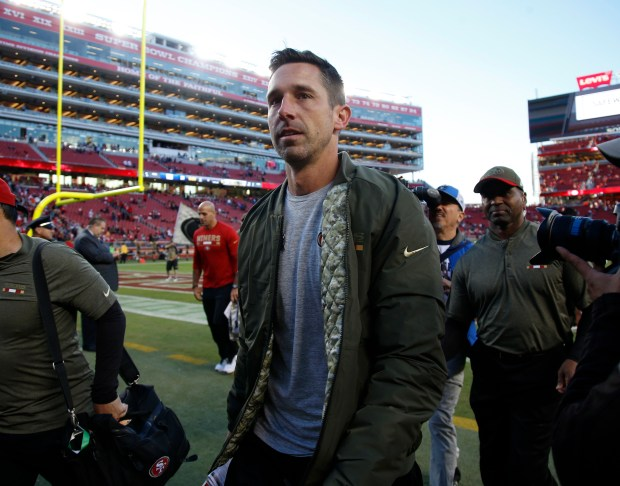San Francisco 49ers head coach Kyle Shanahan leaves the field following their 31-21 win over the New York Giants for their NFL game in Santa Clara, Calif. on Sunday, Nov. 12, 2017. (Nhat V. Meyer/Bay Area News Group)