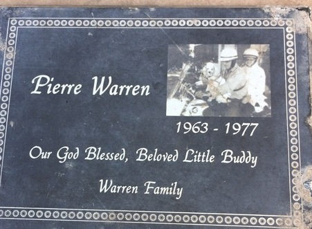Headstone for Pierre, a beloved poodle buried at Warm Springs Pet Cemetery. (Courtesy of Elaine Rosingana)