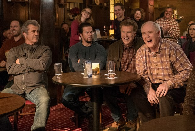 "Mel Gibson, left, Mark Wahlberg, Will Ferrell and John Lithgow in ""Daddy's Home 2."" (Claire Folger/Paramount Pictures)"