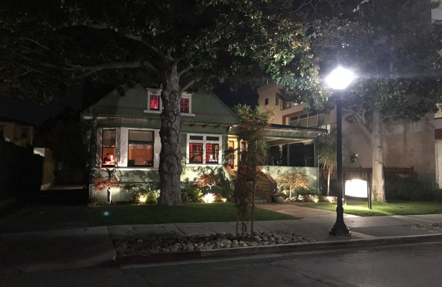 Chez TJ on Villa Street in Mountain View, photographed on Tuesday evening, Nov. 21, 2017. A proposal is before the city council to move this building to 1012 W. Dana St., in a residential zone. (John Orr / Daily News)