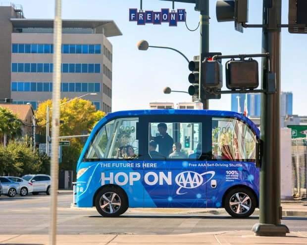 A Navya shuttle is tested in Las Vegas in advance of rolling out to the general public on Wednesday, Nov. 8, thanks to a partnership with AAA for a one-year pilot of the country's first autonomous shuttle to operate on public roads.