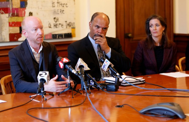 Darin Ranelletti, assistant director of the planning and building department talks as Bill Gilchrist, director of the planning and building department, and Mayor Libby Schaaf listens during the Ghost Ship anniversary media briefing in the Mayor's office at Oakland City Hall in Oakland, Calif., on Friday, Nov. 17, 2017. The mayor along with other city officials held a press conference to discuss the changes made after the tragic Ghost Ship fire that killed 36 people. (Laura A. Oda/Bay Area News Group)