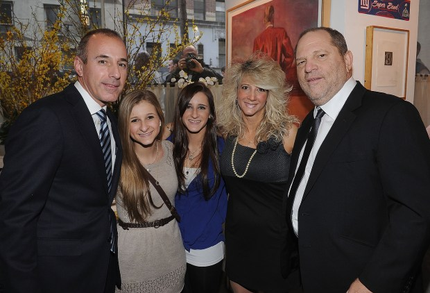 Matt Lauer, Corrine Figoski, Caroline Figoski, Paulette Figoski and Harvey Weinstein attend the New York Giants Super Bowl Pep Rally Luncheon at Michael's on February 1, 2012 in New York City. (Photo by Dimitrios Kambouris/Getty Images for New York Giants)
