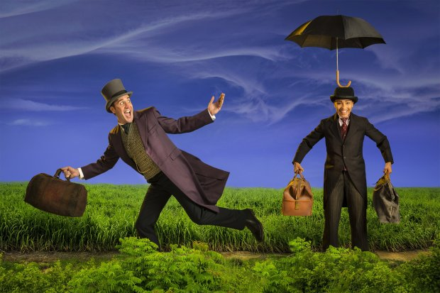 Photograph by Kevin BernePhileas Fogg (Jason Kuykendall, left) and Fogg's valet Jean Passepartout (Tristan Cunningham) are ready to go 'Around the World in 80 Days' in TheatreWorks Silicon Valley's production*,* at the Lucie Stern Theatre in Palo Alto through Dec. 31.