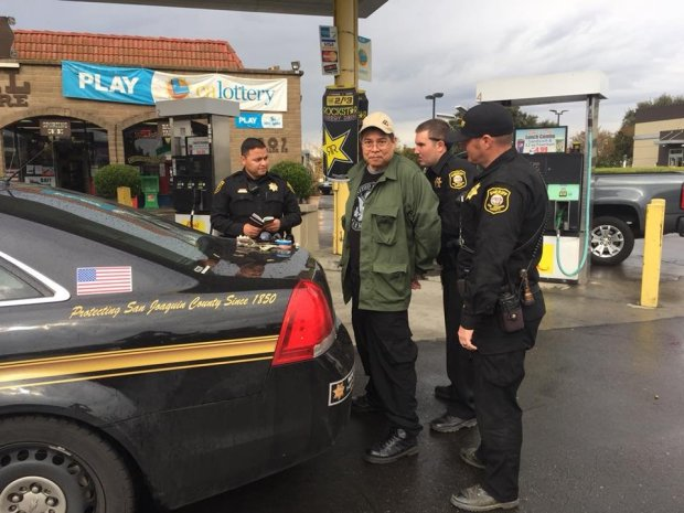Randall Saito, center, is arrested by San Joaquin Sheriff's deputies in Stockton on Nov. 15, 2017. Authorities say Saito flew to the Bay Area after escaping from a Hawaiian psychiatric facility where he was being held after a 1979 homicide for which he was found not guilty by reason of insanity. (San Joaquin County Sheriff's Office)