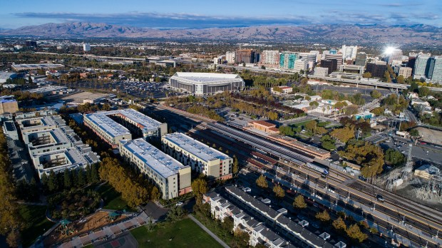 Aerial view of the area of Google's proposed transit-oriented village near the Diridon Station, on the western edges of downtown San Jose, California on Saturday, November 11, 2017. The proposed village would replace a hodgepodge of aging industrial, retail, dining, office and residential structures, along with vacant parcels and parking lots. (LiPo Ching/Bay Area News Group)