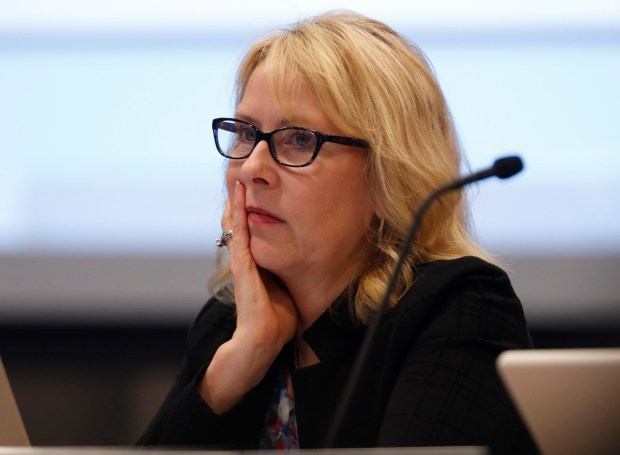 Dr. Mary Ann Dewan, interim superintendent of the Santa Clara County Board of Education, listens to a speaker during a meeting at Santa Clara County Office of Education in San Jose, Calif. on Wednesday, Nov. 15, 2017. (Nhat V. Meyer/Bay Area News Group)