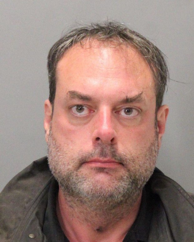 Christopher Todd Oicles, 49, of Sunnyvale, was arrested Nov. 22, 2017 on suspicion of stalking a co-worker, and a search of his home over the following days yielded automatic and assault weapons and a suspected meth lab, authorities say. (Sunnyvale Dept. of Public Safety)