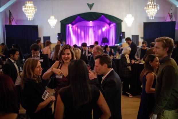Guests at YIMBY Action's fundraising gala mingle on Nov. 2, 2017 in San Francisco.  (Dai Sugano/Bay Area News Group)