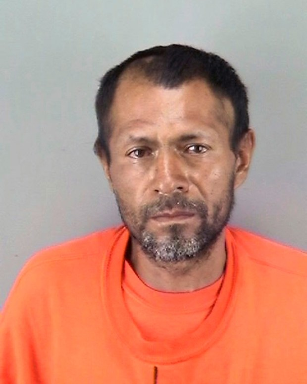 This undated file booking photo provided by the San Francisco Police Department shows Jose Ines Garcia Zarate. San Francisco jurors heard the muddled confession of the Mexican national on trial for the fatal shooting of Kate Steinle, whose death touched off a fierce debate over immigration. On Wednesday, Nov. 1, 2017, prosecutors played a portion of the interrogation of Jose Ines Garcia Zarate recorded several hours after Steinle was shot on July 1, 2015. (San Francisco Police Department via AP)