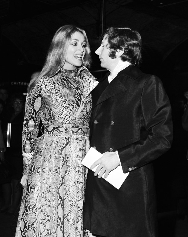 "Polish film director Roman Polanski with wife American actress Sharon Tate arrive for the film premiere of ""Rosemary's Baby"", at the Paramount Theatre, in London, on Jan. 23, 1969. (AP Photo)"