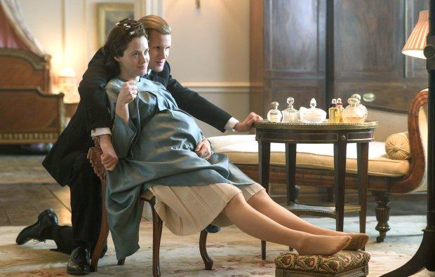 "Claire Foy, left, plays Queen Elizabeth, and Matt Smith plays Philip in ""The Crown."" (Alex Bailey/Netflix)"