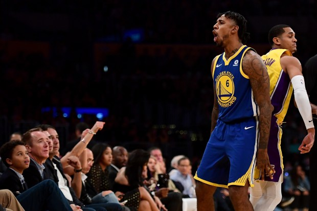 LOS ANGELES, CA - DECEMBER 18: Nick Young #6 of the Golden State Warriors reacts in the first half while taking on the Los Angeles Lakers at Staples Center on December 18, 2017 in Los Angeles, California. NOTE TO USER: User expressly acknowledges and agrees that, by downloading and or using this photograph, User is consenting to the terms and conditions of the Getty Images License Agreement. (Photo by Harry How/Getty Images)