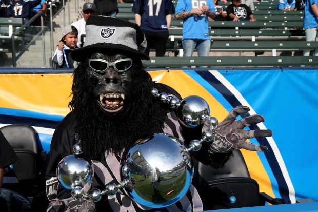 Gorilla Rilla is seen prior to the game between the Oakland Raiders and Los Angeles Chargers at StubHub Center on December 31, 2017 in Carson, California. (Photo by Stephen Dunn/Getty Images)