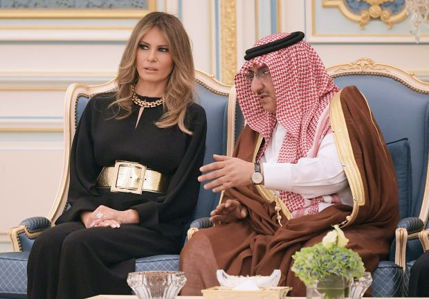US First Lady Melania Trump chats with Saudi Deputy Crown Prince Muhammad bin Nayef bin Abdulaziz al-Saud at a ceremony where US President Donald Trump received the Order of Abdulaziz al-Saud medal from Saudi Arabia's King Salman bin Abdulaziz al-Saud at the Saudi Royal Court in Riyadh on May 20, 2017. / AFP PHOTO / MANDEL NGANMANDEL NGAN/AFP/Getty Images