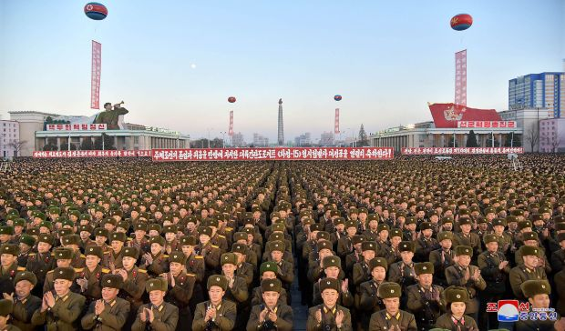 "TOPSHOT - This December 1, 2017 picture released by North Korea's official Korean Central News Agency (KCNA) on December 2, 2017 shows North Korean soldiers and Pyongyang residents holding a rally to celebrate the North's declaration on November 29 it had achieved full nuclear statehood.North Korea's leader Kim Jong-Un declared the country had achieved a ""historic cause"" of becoming a nuclear state, its state media said on November 29, after the country tested an intercontinental ballistic missile earlier in the day. / AFP PHOTO / KCNA VIA KNS / - / South Korea OUT / REPUBLIC OF KOREA OUT ---EDITORS NOTE--- RESTRICTED TO EDITORIAL USE - MANDATORY CREDIT ""AFP PHOTO/KCNA VIA KNS"" - NO MARKETING NO ADVERTISING CAMPAIGNS - DISTRIBUTED AS A SERVICE TO CLIENTS THIS PICTURE WAS MADE AVAILABLE BY A THIRD PARTY. AFP CAN NOT INDEPENDENTLY VERIFY THE AUTHENTICITY, LOCATION, DATE AND CONTENT OF THIS IMAGE. THIS PHOTO IS DISTRIBUTED EXACTLY AS RECEIVED BY AFP. / -/AFP/Getty Images"