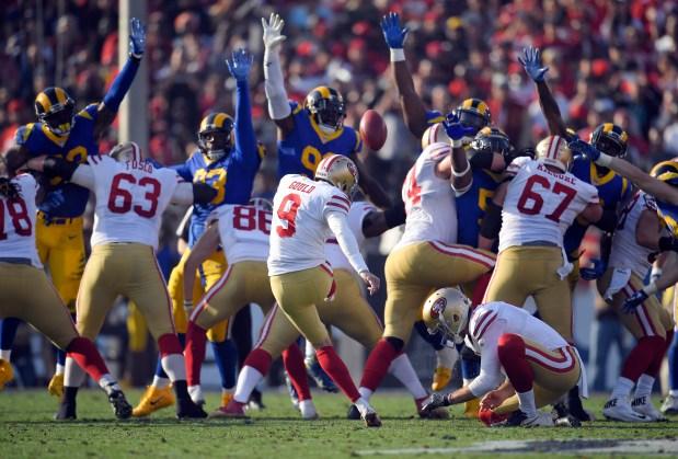 1349c79d0 San Francisco 49ers kicker Robbie Gould kicks a field goal during the first  half of an