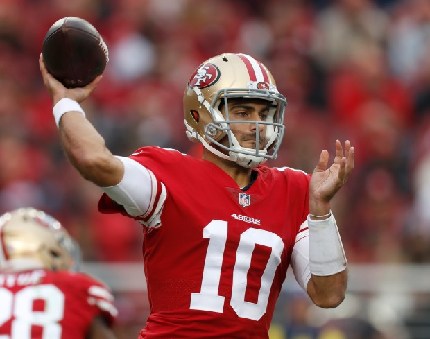 San Francisco 49ers starting quarterback Jimmy Garoppolo (10) throws against the Jacksonville Jaguars in the first quarter of their NFL game at Levi's Stadium in Santa Clara, Calif., on Sunday, Dec. 24, 2017. (Nhat V. Meyer/Bay Area News Group)