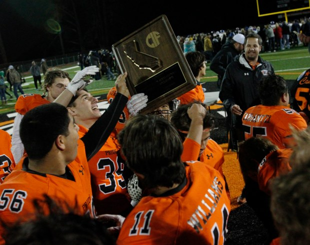 Half Moon Bay celebrates after beating Sutter, 28-7, during the CIF Northern California regional championship at Half Moon Bay High School on Saturday, Dec. 9, 2017, in Half Moon Bay, Calif. (Jim Gensheimer/Bay Area News Group)