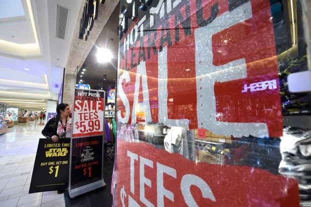 Most stores had special sales at the Sun Valley Mall in Concord, Calif., on Tuesday, Dec. 26, 2017. After Christmas shoppers trickled into the mall as the day worn on, but crowds were relatively light on the day after Christmas. (Dan Honda/Bay Area News Group)