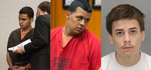 "From left to right, Zachary Cuen, Johnny Brown Jr., and Willie King will stand trial in the 2016 killing of Floavis ""Miss Flo"" Douglas after they were indicted by a grand jury on Dec. 14, 2017. (Bay Area News Group file photos and Santa Clara Co. Sheriff's Office)"