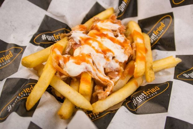 The 716 basket, named for the Buffalo, New York area code, tops chips with chicken, buffalo sauce, and blue cheese.  (Courtesy photo of #GetFried Fry Cafe)