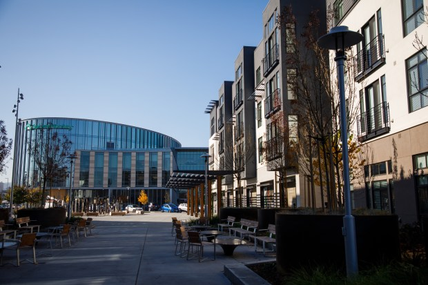 SurveyMonkey's headquarters is located in a newly developed urban village integrated with housing and retail in San Mateo. (Dai Sugano/Bay Area News Group)