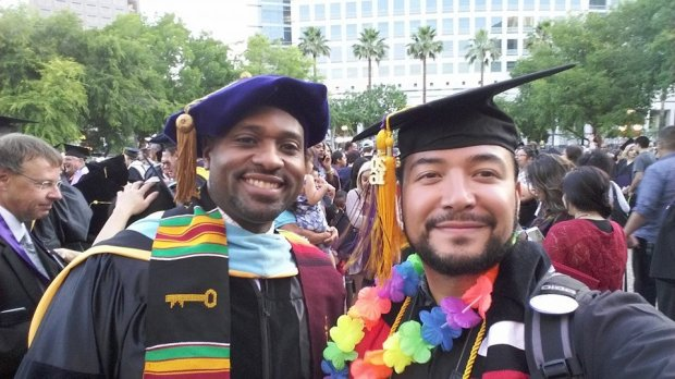 Marcelo Lopez, right, poses with San Jose City College President ByronBreland at the San Jose City College graduation ceremony in May 2017. Lopez participates in the Pathway to Law program that helps guide community college students to law school. (Courtesy Jordan Ann Elliot)