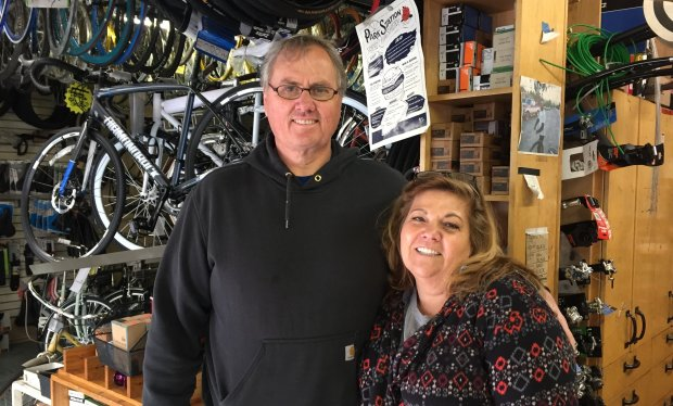 Owners Chuck and Karen Clifford at Bicycle Express, their bike shop indowntown San Jose, which is celebrating its 30th anniversary in January 2018. (Sal Pizarro/Bay Area News Group)