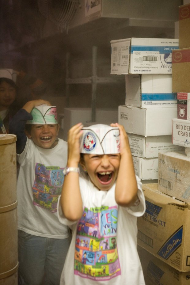 Kids from an Oakland elementary school brave the blast freezer during theArctic Tour at Fentons Creamery. (Photo: Eurydice Galka)