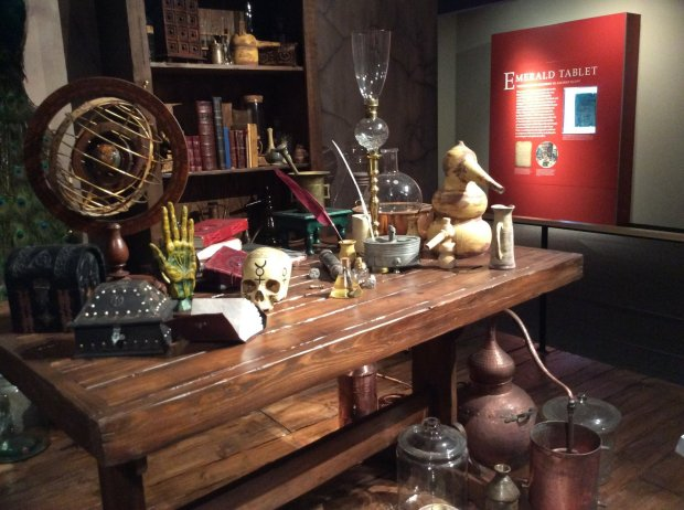 A new alchemy exhibit at San Jose's Rosicrucian Museum offers glimpses of an alchemical workshop and displays on artifacts, such as the Emerald Tablet, an ancient crypticremnant from the Egyptian and Greek Hermetica. (Courtesy Rosicrucian Museum)
