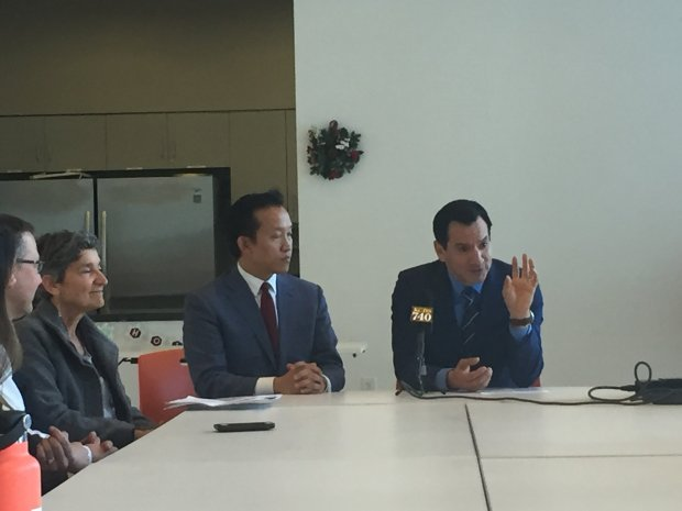 Assemblyman David Chiu, D-San Francisco, and Assembly Speaker Anthony Rendon,D-Lakewood, meet with local affordable housing advocates to discuss the impact the GOP tax plan could have on the state's low-income housing on Dec. 6, 2017. (Marisa Kendall/ Bay Area News Group)
