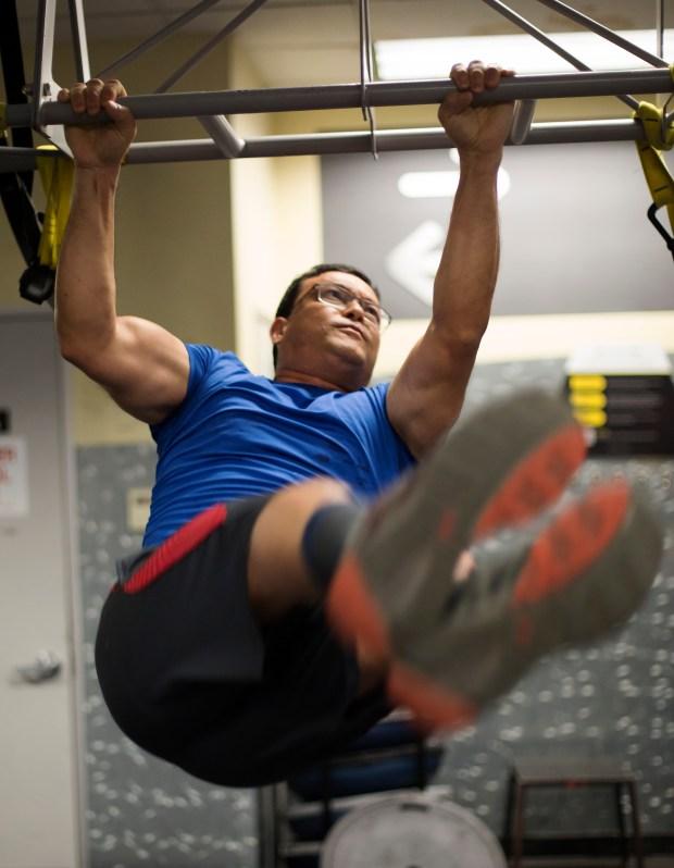 John Manoj Vastrad works out at 24 Hour Fitness in San Jose, California, Friday, Dec. 8, 2017. (Patrick Tehan/Bay Area News Group)