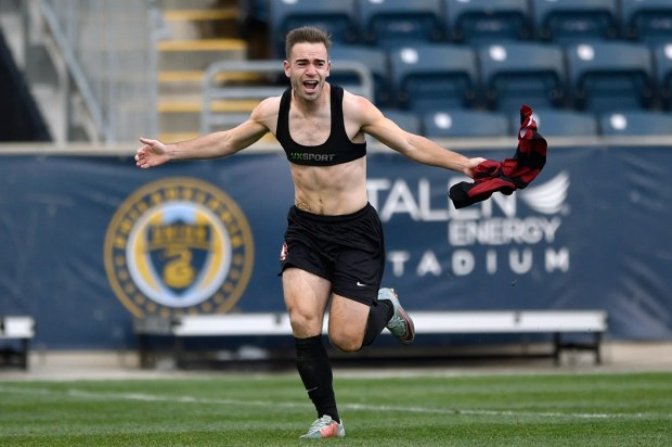 Stanford's Sam Werner celebrates after scoring the game winning goal to win the NCAA College Cup championship soccer match against Indiana, Sunday, Dec. 10, 2017, in Chester, Pa. Stanford won 1-0 in over time. (AP Photo/Derik Hamilton)