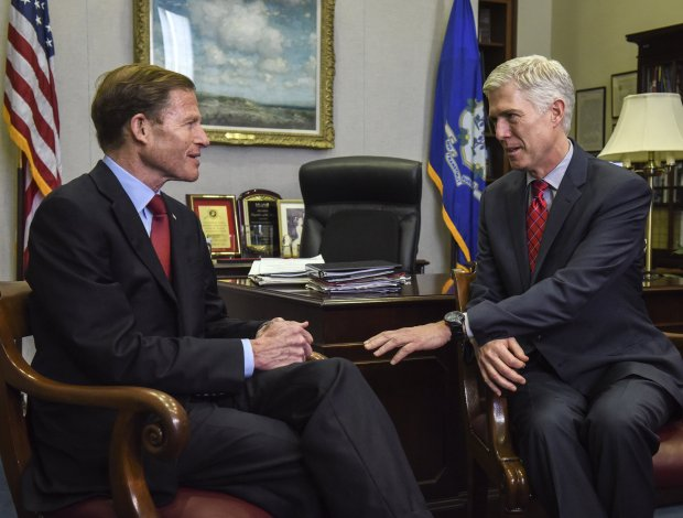 Neil Gorsuch, right, meets with Sen. Richard Blumenthal, D-Conn., on Feb. 8when Gorsuch was President Trump's nominee for the Supreme Court. MUST CREDIT: Washington Post photo by Bill O'Leary
