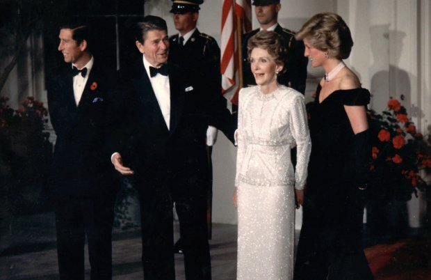 President Ronald Reagan and First Lady Nancy Reagan, center, meet with Prince Charles and Diana, Princess of Wales, seen in this undated photo. (AP Photo)