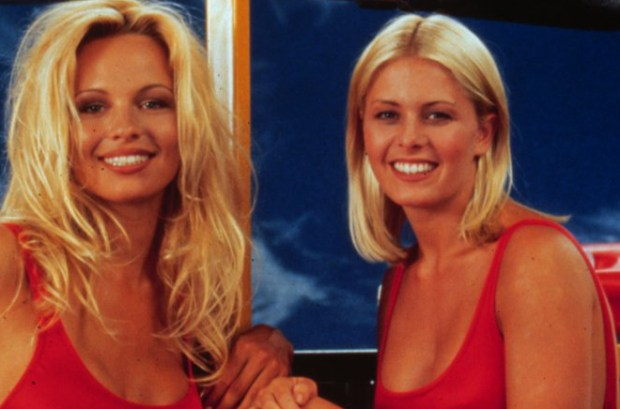 "1993 photo of TV show, ""Baywatch,"" starring Nicole Eggert and Pamela Anderson."