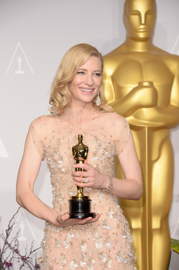 "HOLLYWOOD, CA - MARCH 02: Actress Cate Blanchett, winner of Best Actress for ""Blue Jasmine, poses in the press room during the Oscars at Loews Hollywood Hotel on March 2, 2014 in Hollywood, California. (Photo by Jason Merritt/Getty Images)"