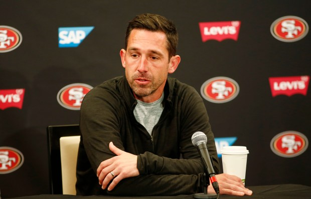 Kyle Shanahan, 49ers head coach, talks about the future of the team during a season-ending press conference at Levi's Stadium in Santa Clara, California, on Tuesday, Jan. 2, 2018. (Gary Reyes/ Bay Area News Group)