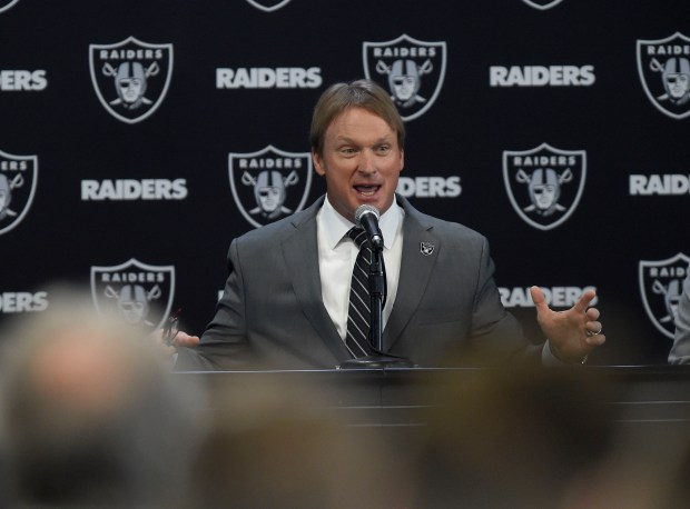 Jon Gruden answers questions from the media during the Oakland Raiders introduce him as their new head coach at the team facility in Alameda, Calif., on Tuesday, Jan. 9, 2018. (Dan Honda/Bay Area News Group)
