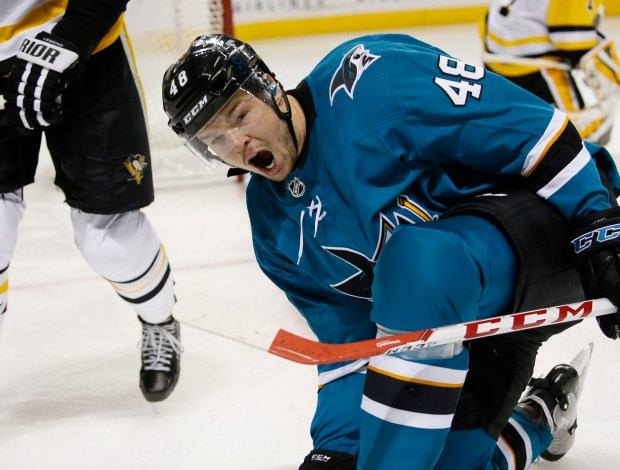 San Jose Sharks center Tomas Hertl (48) celebrates scoring a goal on a power play against the Pittsburgh Penguins in the third period at SAP Center on Saturday, Jan. 20, 2018, in San Jose, Calif. (Jim Gensheimer/Bay Area News Group)