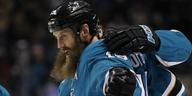 San Jose Sharks' Joe Thornton (19) celebrates after scoring goal against the Vancouver Canucks in the first period of their NHL game at the SAP Center in San Jose, California on Thursday, Dec. 21, 2017. (Josie Lepe/Bay Area News Group)