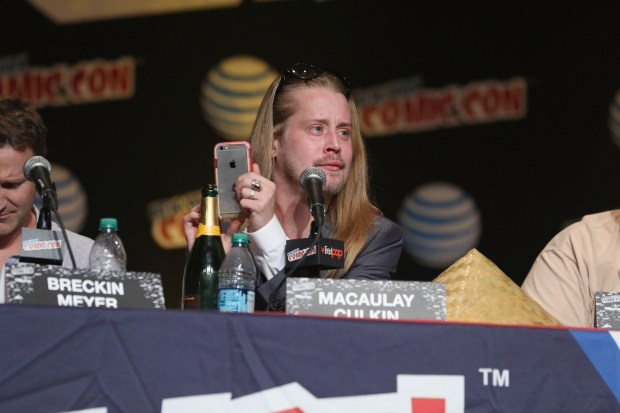 NEW YORK, NY - OCTOBER 09: Actor Macaulay Culkin speaks at the Adult Swim Panel: Robot Chicken. Adult Swim at New York Comic Con 2015 at the Jacob Javitz Center on October 9, 2015 in New York, United States. 25749_002 444.JPG (Photo by Cindy Ord/Getty Images For Turner)