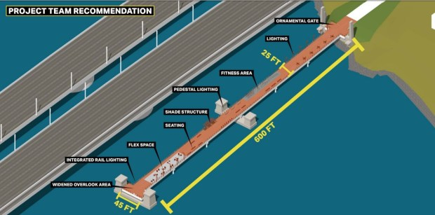 Several piers remaining from the old eastern span of the original Bay Bridge will be reused as a vista point and boardwalk at Yerba Buena Island and Oakland. (Courtesy Caltrans)